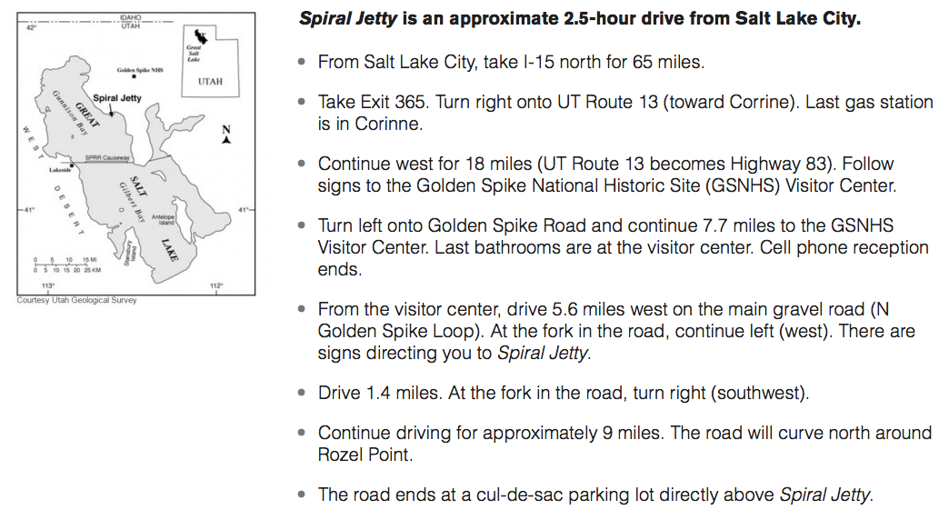 Directions to Spiral Jetty